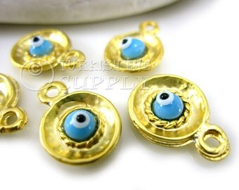 5 pc Gold Disc Charms with Glass Evil Eye, Matte 22K Gold Plated with Evil Eye, Turkish Jewelry, Turkish Findings, Good Luck Charms