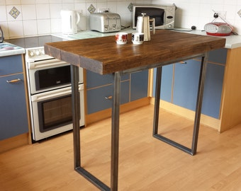 Rustic breakfast bar table / kitchen island  industrial chic