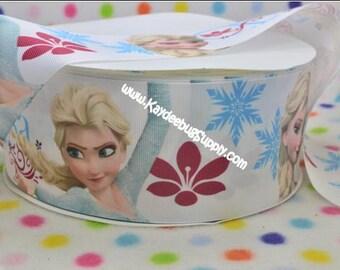 2 yards Elsa Snow Queen - 3 inch - 70 mm  - Printed Grosgrain Ribbon