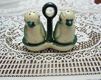 Cute Vintage Penguin Salt and Pepper Shakers in Carrier Made in Japan Cork Stoppers, Serving & Dinning Set, Collectible Set