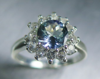 1.10ct Natural purple Tanzanite round 6.85mm & white topaz sterling 925 Silver ring all sizes