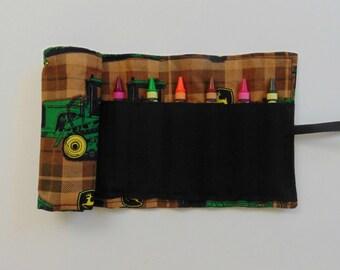 John Deere Crayon Roll, Crayon Organizer, Kids Gift, Party Favor, Stocking Stuffer