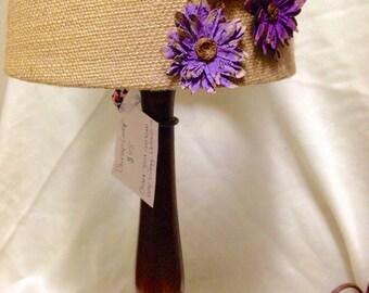 Burlap Wooden Flower Lamp