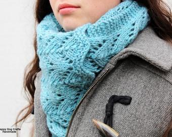 Heartland Scarf - Handknit Bulky Lace Scarf/Shawl - Seaside