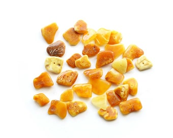 Baltic amber chips loose beads for jewelry making - Chips beads supplies - drilled amber beads - 30 units Baltic amber beads - 4261