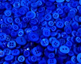 Dark Blue Small Mixed Buttons - Bulk/Job Lot/Scrapbooking/Card Making/Crafting