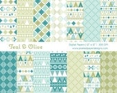 Teal & Olive Digital Paper - Aztec Inspired Tribal Digital Paper for Scrapbooking, Background, DIY, etc | Commercial License Available.