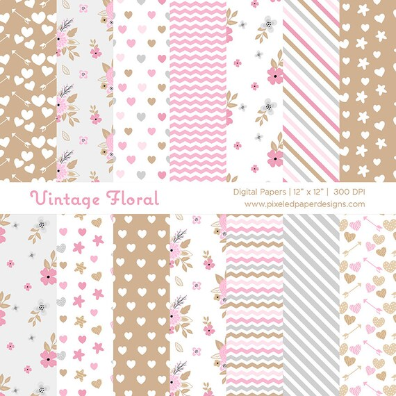 Vintage Floral Digital Paper Pack - Rustic Pink & Sand Floral Background for Scrapbook, Wedding, Invites | Commercial License Available.