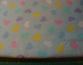 Multi-color Hearts on Light Blue Flannel