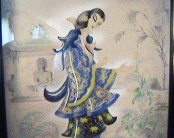 "Vintage Oriental Airbrush Painting - Asian Oriental GEISHA Woman GARDEN TEMPLE - Signed ""Alex Wittman"""