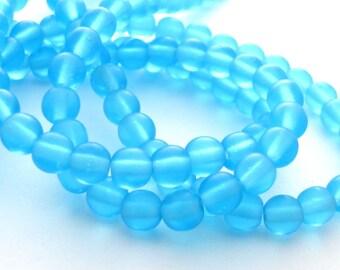 Matte Aquamarine 4mm Smooth Round Czech Glass Beads 100pc #2580