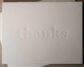Letterpress thanks card (blind impression) (#TX011)