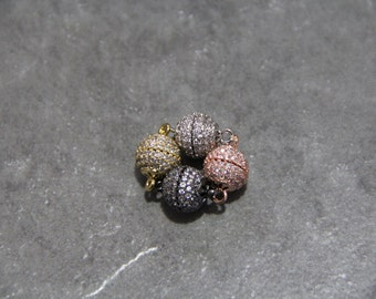 CZ Micro Pave 10mm Round Magnetic Clasp