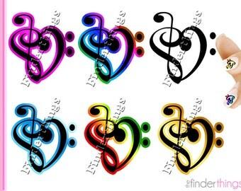 Music Note Treble Clef Heart Nail Art Decal Sticker Set MUS902