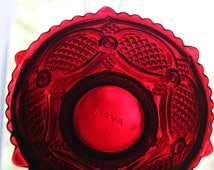 Avon Cape Cod Collection. Ruby Red Glass Plate.  Beautiful Translucent  Dark Red Glass Plate. Collectible Item.