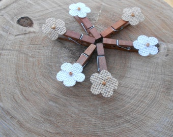 Mini Clothes pins with Burlap Flower