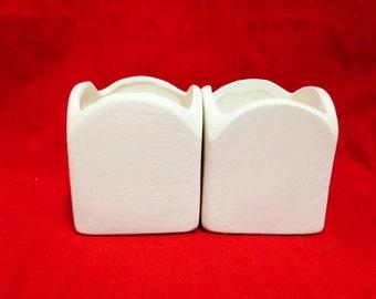 Set of 2 Rounde Top Square Votive Candleholders  *Ceramic Bisque*U-Paint
