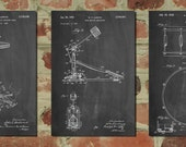 Drum Art Patent Posters Group of 3, Drummer Art, Cymbal, Drum Patent, Snare Drum, Percussion, Music Room Decor, Boys Room Decor