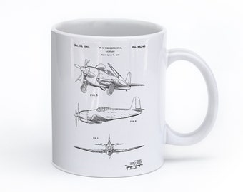 Contra Propeller Airplane Mug, Airplane Patent, Aviation Gift, Gifts for Pilots, Airplane Coffee Mug, Aviation Print, Airplane Art, PP0082