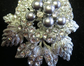 Vintage Pave Rhinestone and Gray Pearl 3-D Brooch