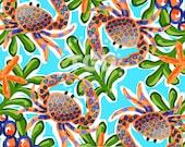 Preppy crab digital paper - Original Art download, preppy digital design, preppy download, orange and navy crab design