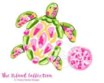 Preppy Sea Turtle clip art, Preppy pink sea urchin clip art - Original Art download, preppy prints, invitation art, watercolor clipart