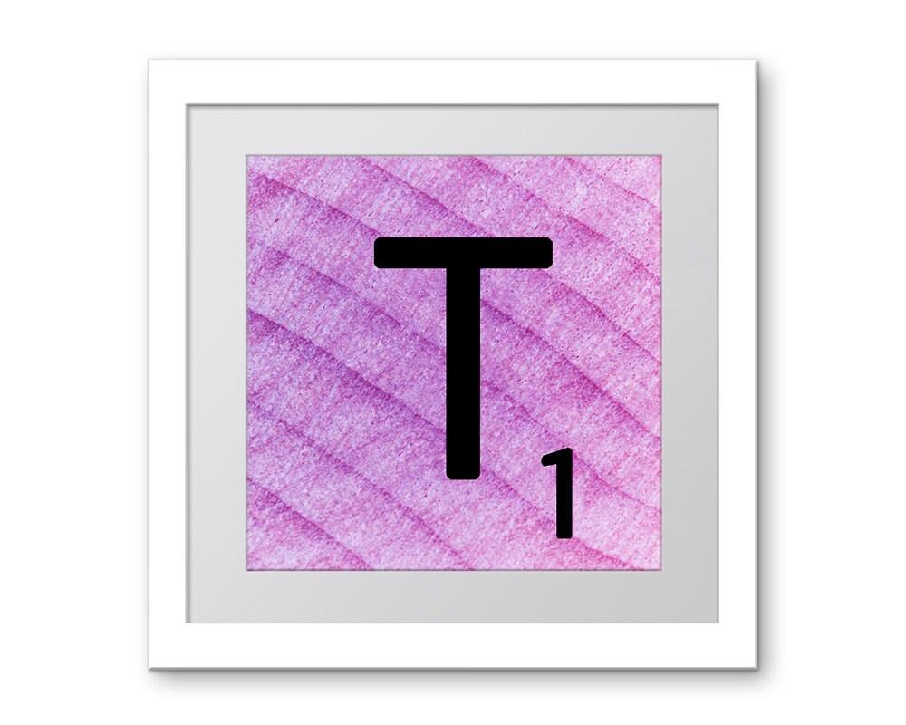 Wall Decor Letter T : Wall decor letters purple letter t scrabble art by ekphotoart
