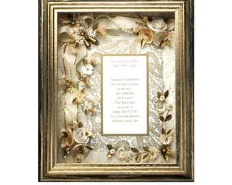 Framed Golden Anniversary Gift,  Golden Wedding Anniversary, Framed Golden Invitation Gift, 50th Anniversary Gift, Golden keepsake, 50th