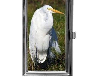 Business Card Holder, Metal Card Case, Mini Wallet, Stork Image Design, Bird, Animal, Nature, Wildlife, Credit Debit Card ID Wallet