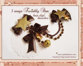 3 ways Twinkly Star hair clip/brooches