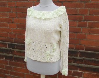 Sweaters, long sleeve, lace, shabby, boho, bohemian look, knit sweater, light green, birch green, upcycled clothing, Size S