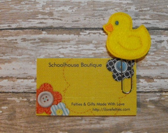 Yellow Duck felt paperclip bookmark, felt bookmark, paperclip bookmark, feltie paperclip, christmas gift, teacher gift