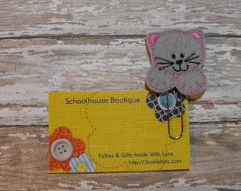Gray Kitty Cat felt paperclip bookmark, felt bookmark, paperclip bookmark, feltie paperclip, christmas gift, teacher gift