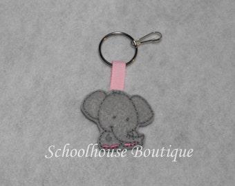 Gray Elephant Felt Zipper Pull, Felt Keychain Fob, Felt Key Ring, Felt Key Fob, Purse Accessory, Luggage Tag