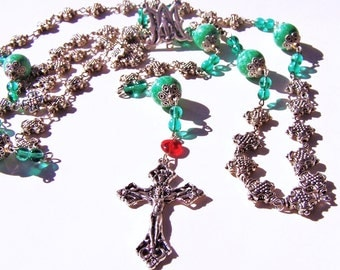 Rosary: An Infinity of Crosses featuring Vintage Ceramic Beads