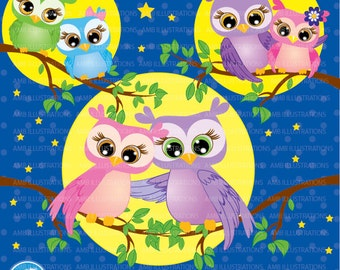 Owls clipart, owls in love clipart, commercial use, vector graphics, digital clip art, digital images, AMB-271