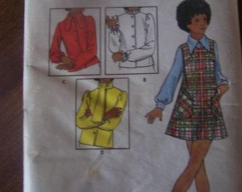 Girls, Juniors size 7 UNCUT sewing pattern, Butterick 6421, Jumper and blouses, craft supplies