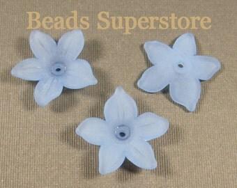 21 mm x 5 mm Sapphire Lucite Flower Bead - 12 pcs