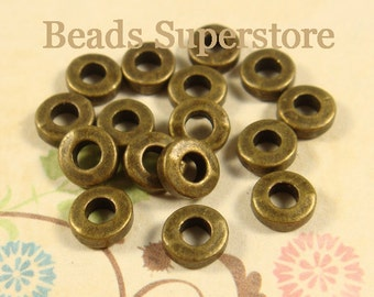6 mm x 2 mm Antique Bronze-Plated Alloy Spacer Bead - Nickel Free, Lead Free and Cadmium Free - 25 pcs