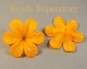33 mm x 8 mm Orange Lucite Flower Bead - 6 pcs