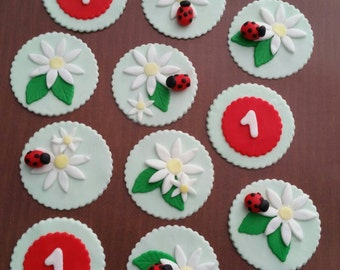 Set of 12 Lady Bug Themed Cupcake Toppers!