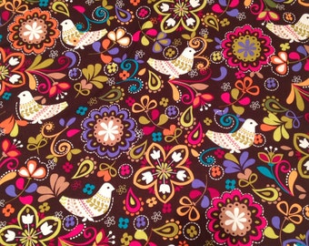 Michael Miller Birds of Norway Brown fabric cotton by 1/2 metre