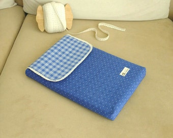 Leisure Occasion/ Made to Order Dark Blue Dots and Light Blue Checked, Cotton Kindle Cover / iPad Case / Laptop Case,
