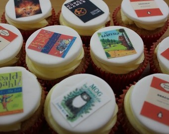 Book Cover Cupcake Toppers, Edible, You Choose Your Favourite Books, Set of 12