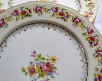 Vintage Gold Castle Hostess Dinner Plate Set of 6 Occupied Japan Cream Pink Floral Replacement PanchosPorch