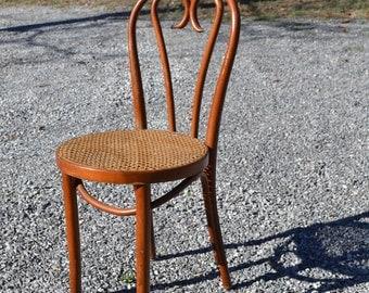 Vintage Wood Oak Office Chair Swivel Wheels Cane By