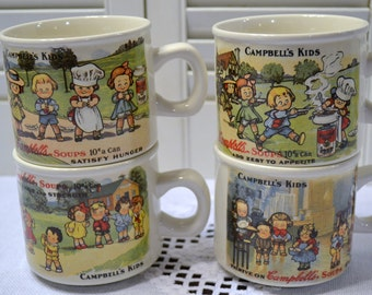 Vintage Campbells Soup Kids Mug Set of 4 Replica 1910 Postcard Vintage Advertising Panchosporch