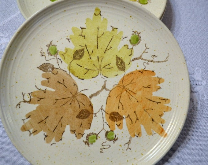 Metlox Poppytrail Woodland Gold Dinner Plate Set of 5 California Pottery Orange Brown Gold Leaf Design USA PanchosPorch