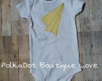Paper Airplane Shirt or Onesie, Summer Shirt or Onesie,  Boys Airplane Bodysuit