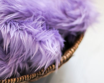 SALE - Lavender Faux Fur Photography Prop - Soft, Cozy, Cuddly Faux Fur Nest - Perfect Newborn Photography Prop, Stuffer, Filler, Layering